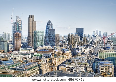 City of London and Canary Wharf skyline