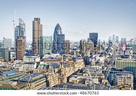 City of London and Canary Wharf skyline - stock photo