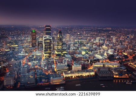 City of London At Sunset - stock photo