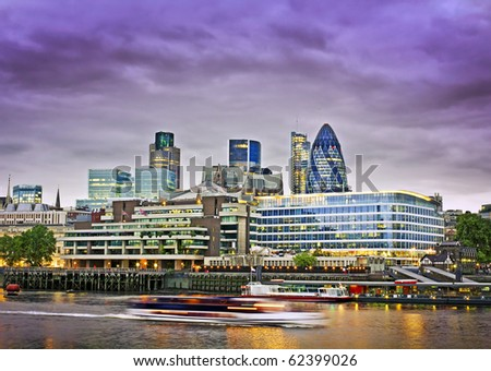 City of London, Financial District seen from the River Thames at twilight