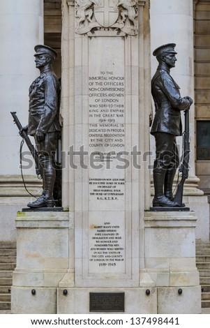 City of London, First World War Memorial, UK - stock photo