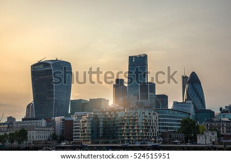 City of London - global financial center. View at sunset.