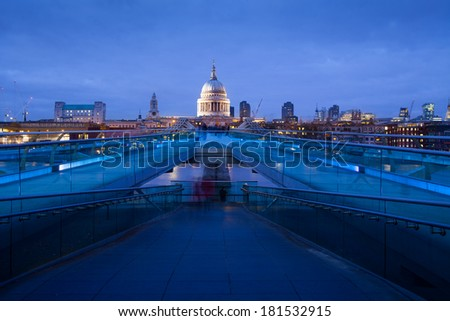 City of London, Millennium bridge and St. Paul's cathedral, Church at night, England, UK