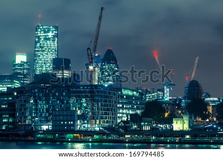 City of London, Night View - stock photo