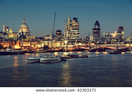 City of London one  at night. - stock photo