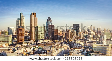 City of London one of the leading centres of global finance. This view includes Tower 42, Gherkin,Willis Building, Stock Exchange Tower, Lloyd`s of London and Canary Wharf at the background.