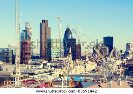 City of London one of the leading centres of global finance.this view includes :Tower 42 Gherkin,Willis Building, Stock Exchange Tower and Lloyd`s of London. - stock photo