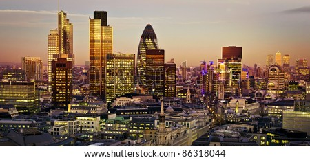 City of London one of the leading centres of global finance.This view includes Tower 42 Gherkin,Willis Building, Stock Exchange Tower and Lloyd`s of London and Canary Wharf at the background. - stock photo