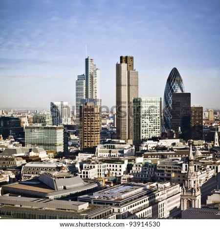 City of London one of the leading centres of global finance. This view includes Tower 42, Gherkin,Willis Building, Stock Exchange Tower, Lloyd`s of London and Canary Wharf at the background. - stock photo