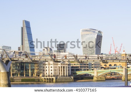 City of London, one of the leading centres of global finance. View includes Tower 42 Gherkin,Willis Building, Leadenhall, Stock Exchange Tower Lloyd`s of London and Walkie Talkie.  - stock photo