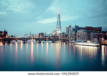 City of London Skyline at dawn in United Kingdom. - stock photo