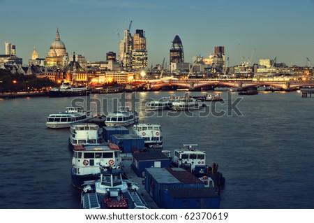City of London skyline at night. - stock photo