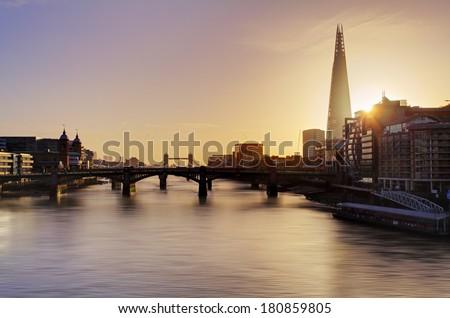 City of London skyline at sunrise, UK - stock photo