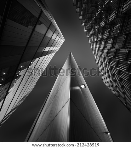 City of London skyline in black and white - stock photo