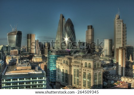 City of London Skyline. Long exposure shot. - stock photo