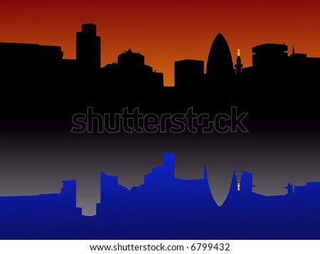 city of London Skyline reflected at sunset JPG
