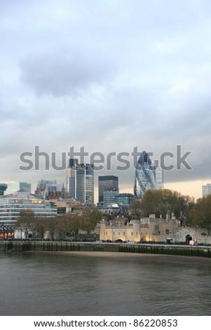City of London Skyline seen from Tower Bridge - stock photo