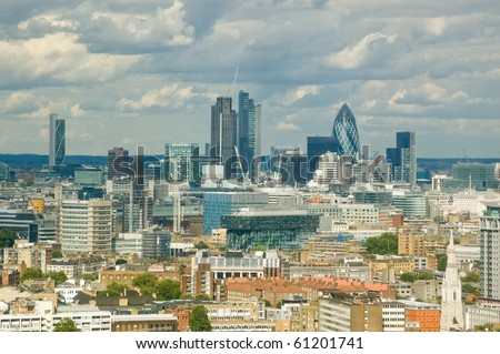 city of London skyline.  View from a tall building across South London looking towards the City financial district.