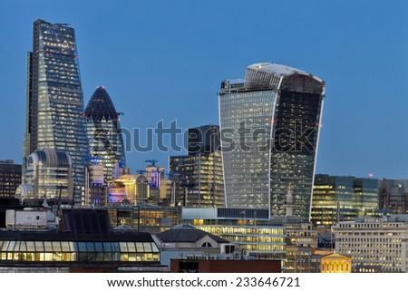 City of London skyscrapers panorama at twilight - stock photo