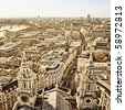 City of London view from St. Paul`s Cathedral - stock photo