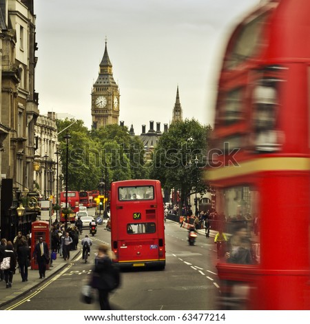 City of  London, View from Trafalgar Square: Big Ben, double deckers, red phone box, taxi cab, people. - stock photo