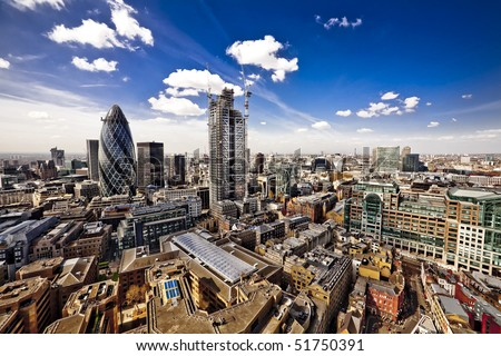 City of London, wide angle view of the capital, looking West towards St. Paul's cathedral. - stock photo