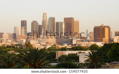 City of Los Angeles Horizontal Downtown Buildings Architecture California - stock photo