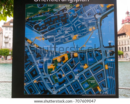 City Lucerne Tourist Map Switzerland Stock Photo Download Now