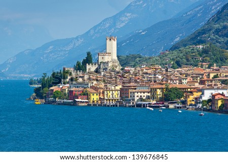 City of Malcesine along with Garda lake, Italy - stock photo
