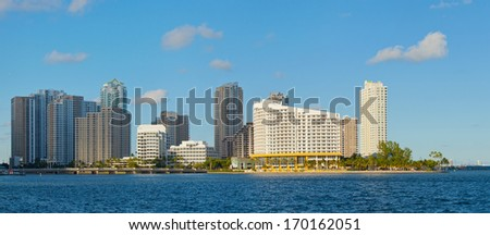 City of Miami, Florida cityscape of downtown  business and residential buildings on a beautiful summer day