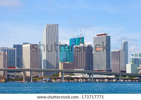 City of Miami, Florida cityscape of downtown  business and residential buildings on a beautiful summer day  - stock photo