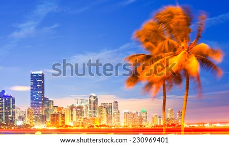 City of Miami Florida, night skyline palm trees and moving traffic. . Cityscape of residential and business buildings illuminated at sunset