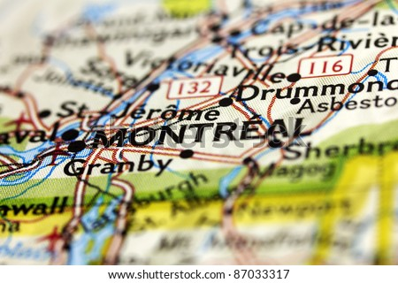 City of Montreal in Canada on the map. - stock photo