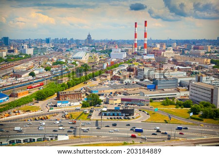 City of Moscow. Industrial zone, railroad. - stock photo
