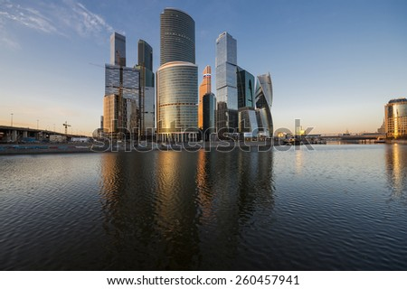 City of Moscow. Russia. Business center Moscow-city at sunset. - stock photo