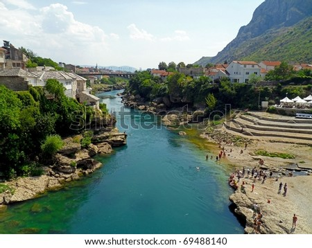 City of Mostar and Neretva river in Bosnia and Herzegovina - stock photo