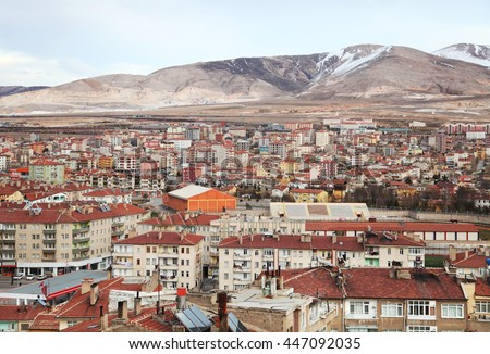 City of Nigde panorama from Nigde Castle in Central Anatolia, Turkey. - stock photo