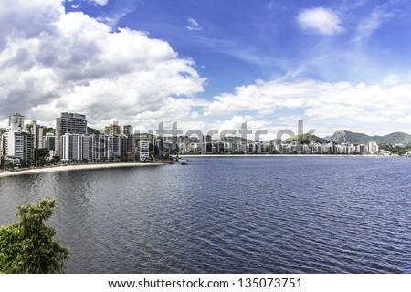 City of Niteroi against blue sky, Brazil - stock photo