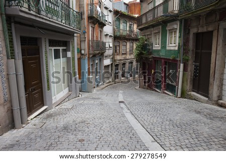 City of Oporto in Portugal, street and houses in the Old Town. - stock photo