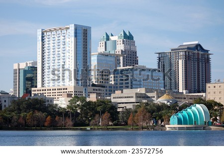 City of Orlando, Florida with Lake Eola in the foreground