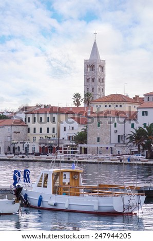 City of Rab, on an island Rab in Croatia, view at old city center and port - stock photo