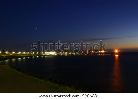 City of Ronne, harbor at night - stock photo