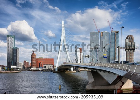 City of Rotterdam downtown skyline in South Holland, the Netherlands.