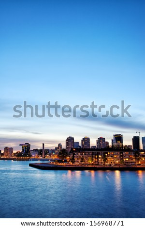 City of Rotterdam skyline at twilight in South Holland, Netherlands. - stock photo