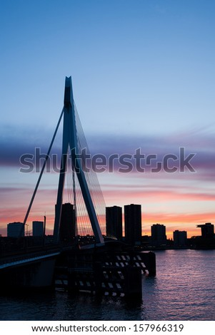 City of Rotterdam skyline silhouette at dusk in Netherlands, South Holland province. - stock photo