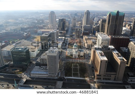 City of Saint Louis Missouri view of downtown seen from the top of the Arch - stock photo