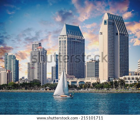 City of San Diego California Downtown Sunset - stock photo