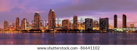 City of San Diego California Downtown Sunset Panorama - stock photo
