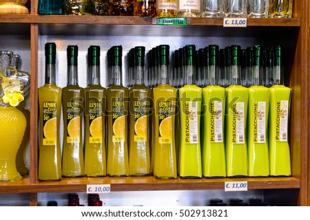 CITY OF SAN MARINO, SM - MAY 11, 2016: Assortment of the beverages at the  PicNic shop, a place where the tourist can buy the local alcoholic drinks