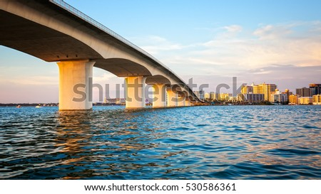 City of Sarasota, Florida across elevated bridge and bay
